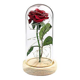 Ewigkeit rose mit grünem Stiel und Lichtschleife - Rot