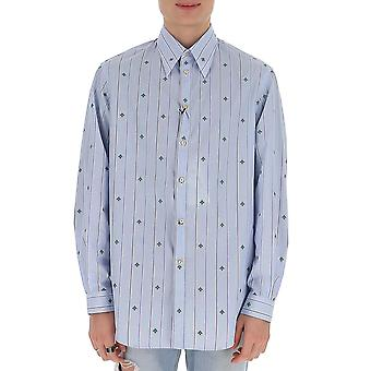 Gucci 590944zac2s4971 Men's Light Blue Cotton Shirt