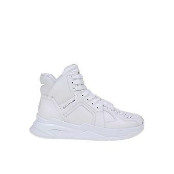 Balmain Tm1c207lcfl0fa Männer's Weißes Leder Hi Top Sneakers