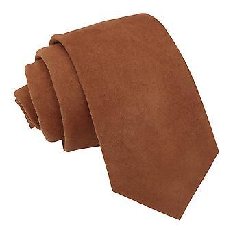 Toffi Brązowy Zamsz owy krawat slim