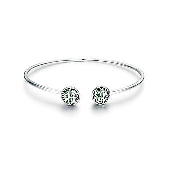 Bracelet Bangle Femme Arbre de Vie orné de Cristal de Swarovski Vert et Argent 925 8131