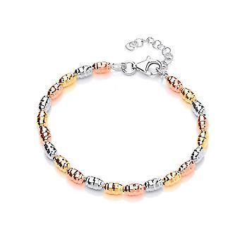 David Deyong Sterling Silver Tricolour Faceted Bead Bracelet