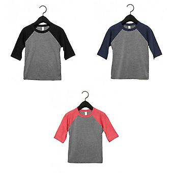 Bella + Canvas Youths 3/4 Sleeve Baseball T-Shirt