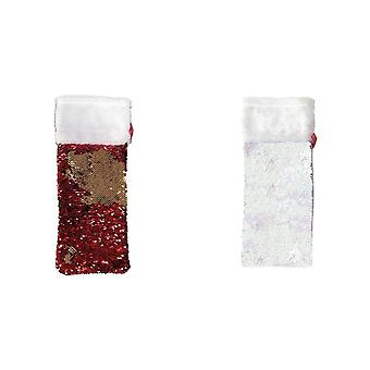 Christmas Shop Reversible Sequin Bottle Gift Bag