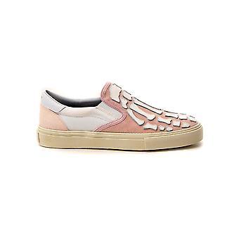 Amiri Y0g23419cysalmonwhite Women's Pink Velvet Slip On Sneakers