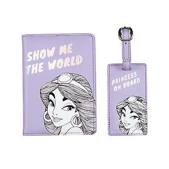 Jasmine Passport Holder y Etiqueta de Equipaje - Perfecto para Viajes - Aladdin Disney