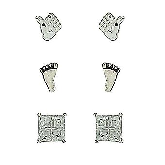 TOC Sterling Silver Thumbs Up, Footprint & Square Rhinestone Studs - 3 Pairs