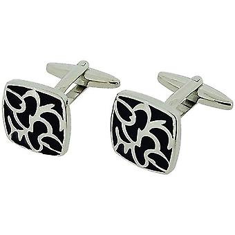 Jakob Strauss Gents Silvertone & Black Enamel Square Retro Design Cufflinks