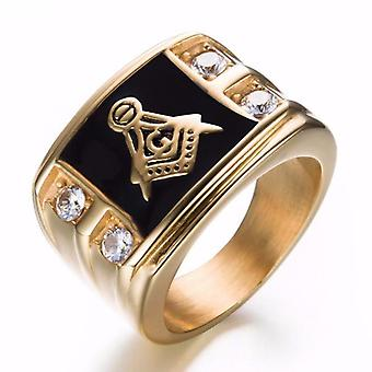 Cubic zirconia masonic ring