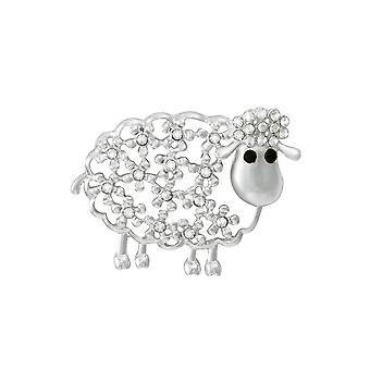 Eternal Collection Una The Sheep Crystal Silver Tone Brooch