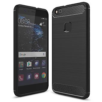 Shell para Huawei P10 Lite Carbon Fiber Armor Case Protection TPU Black