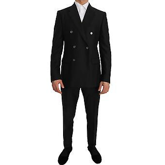 Gray wool silk double breasted slim fit suit