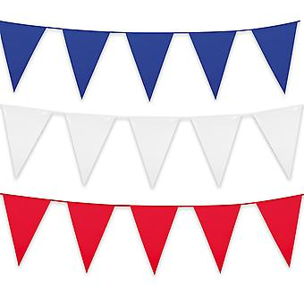 Pack of 3 Giant Plastic Bunting: Red, White & Blue