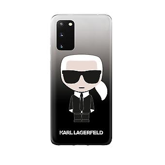 KARL LAGERFELD Iconic Boss Silicone Backcover Hoesje Samsung Galaxy S20 - Zwart Transparant
