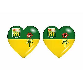 2x Klistermärke klistermärke hjärta flagga kanada saskatchewan