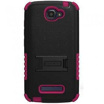 ALCATEL ONE TOUCH FIERCE 2 BEYOND CELL TRI SHIELD CASE - BLACK/PINK