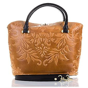 FIRENZE ARTEGIANI. Real leather woman bag. Authentic leather handbag engraved arabesque motifs and lacquered. Dollar Details.MADE IN ITALY. REAL ITALIAN SKIN. 34 x 26 x 15 cm. Color: Camel