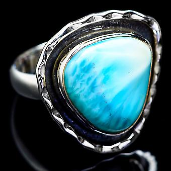 Larimar Ring Size 7.25 (925 Sterling Silver)  - Handmade Boho Vintage Jewelry RING4872