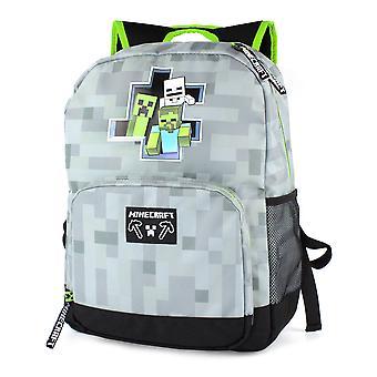 """Minecraft reppu pojille zombie luuranko lasten harmaa koululaukku 18"""""""