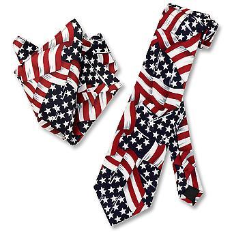 Amerikaanse vlaggen zwaaien mens NeckTie USA Vlag Mens Nek stropdas Zakdoek Set