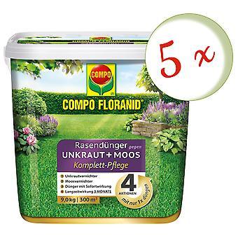 Sparset: 5 × كومبو Floranid® الأسمدة في الحديقة ضد الأعشاب + الطحالب الرعاية الكاملة، 9 كجم
