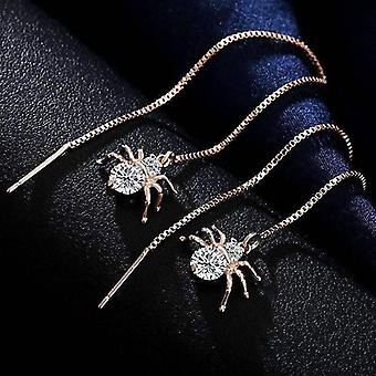 Itsy bitsy spider swiss cz thread earrings in 18k rose gold for woman