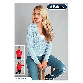 Patons Knitting Pattern - Merino 4 Ply Cabled Cardigan & Flared Sleeved Sweater