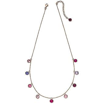 Elements Silver Multi Drop Tonal Necklace - Rose Gold/Pink/Purple