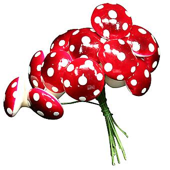 12 Mini 2cm Red & White Toadstool Wired Picks for Floristry Crafts