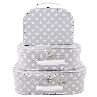 Sass & Belle Set Of 3 Nordic Star Suitcases