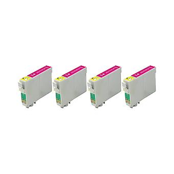RudyTwos 4x Replacement for Epson Fox Ink Unit Magenta Compatible with S22, SX125, SX130, SX230, SX235W, SX420W, SX425W, SX430W, SX435W, SX438W, SX440W, SX445W, SX445WE, Office BX305F, BX305FW, BX305F