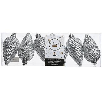 6 8cm Silver Pine Cone Hanging Tree Bauble Ornaments