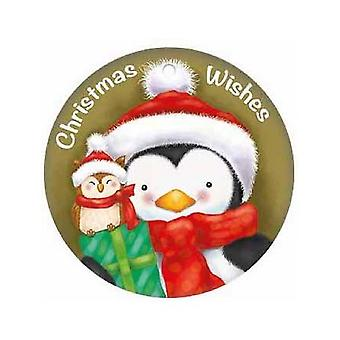 Gold Christmas Wishes Round Metal Sign