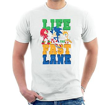Sonic The Hedgehog Life In The Fast Lane Miesten&s T-paita