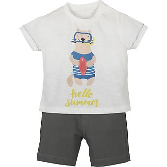 Mamino Baby Boy Karl White Khaki Bermuda and T  Shirt Set