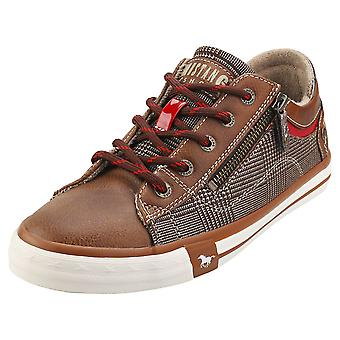 Mustang Side Zip Low Top Womens Casual Trainers em Brown