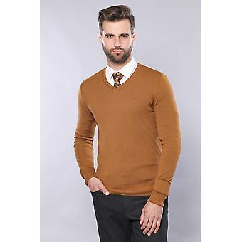 Light brown v neck sweater   wessi