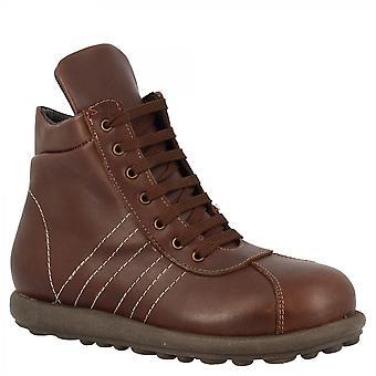 ليوناردو أحذية المرأة & apos;ق جولة اليد الدانتيل المنبثقة أحذية الكاحل في الجلد العجل البني الداكن