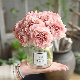 Hand Silk Blooming Peony Fake Pink Silk Hydrangeas Artificial Wedding Home Decoration