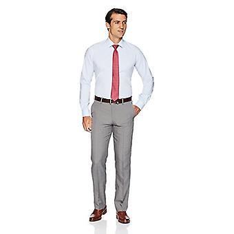 KNAPPET NED Menn's Slim Fit Stretch Poplin Non-Iron Dress Skjorte, Lys blå,...