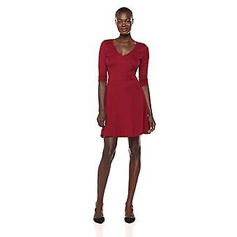 Lark & Ro Women's Three Quarter Sleeve V-Neck Fit and Flare Dress, Bordeaux, ...