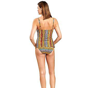 Féraud 3205092-16575 Women's Multicoloured Ethno Bead Non-Padded Underwired Tankini Set