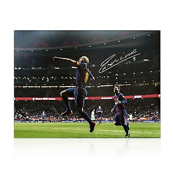 Andres Iniesta Signed Barcelona Photo: The Final Goal
