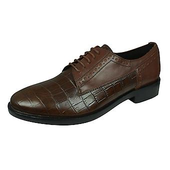 Geox D Brogue B Womens Leather Shoes - Brown