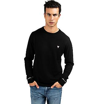 Guess Crew Neck Wool Blend Sweater - Jet Black