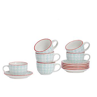 Nicola Spring 12 Piece Hand-Printed Cappuccino Cup and Saucer Set - Porcelain Coffee Teacups - Turquoise - 250ml