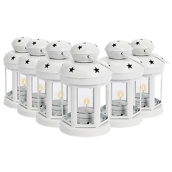 Nicola Spring Candle Lanterns Tealight Holders Metal Hanging Indoor Outdoor - 16cm - White - Set 6