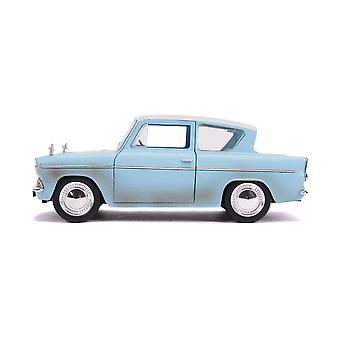 Harry Potter 1959 Ford Anglia Die-cast Toy Car with Harry Die-cast Figure Blue
