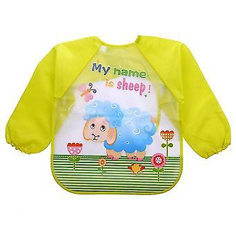Cute Baby Bibs Imperméable à l'eau, Dessin animé à manches complètes, Animaux, Tablier pour enfants