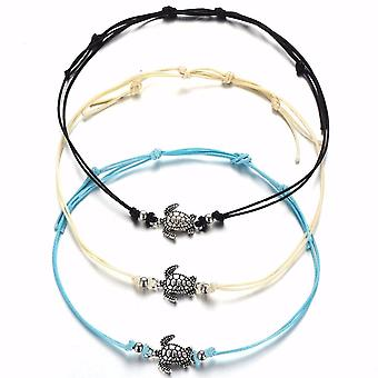 Antique Silver Sea, Turtles Animal Bracelets, Vintage Colorful, Rope, Men,